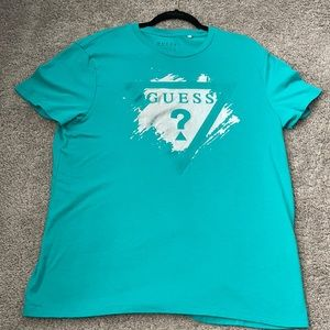 Men's Guess T Shirt Large Turquoise Silver